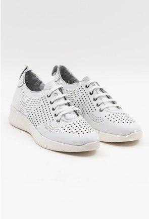 Pantofi sport albi din piele naturala perforata