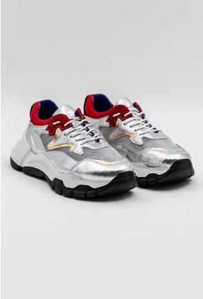 Pantofi sport argintii din piele naturala cu detalii rosii