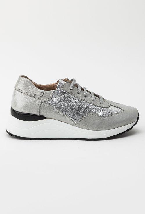 Pantofi sport argintii din piele naturala Devona