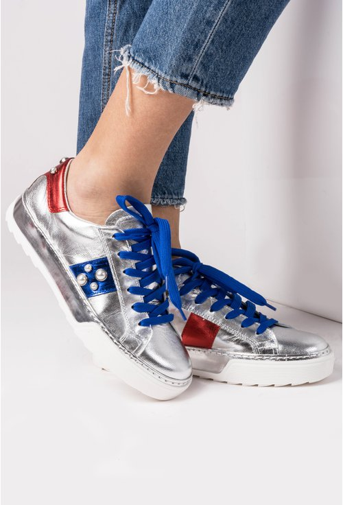 Pantofi sport argintii din piele naturala Sonia
