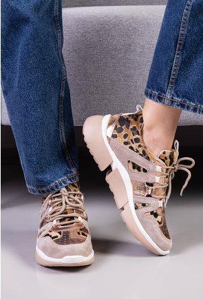 Pantofi sport bej cu animal print si piele naturala