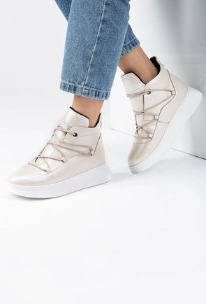 Pantofi sport bej sidefat din piele naturala