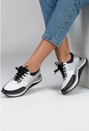 Pantofi sport din piele in nuante de alb, negru si argintiu