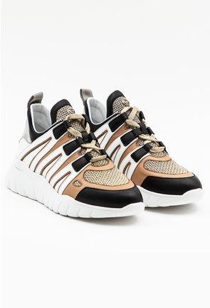 Pantofi sport din piele naturala bej cu alb si detalii negre si aurii