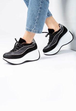 Pantofi sport din piele naturala cu platforma