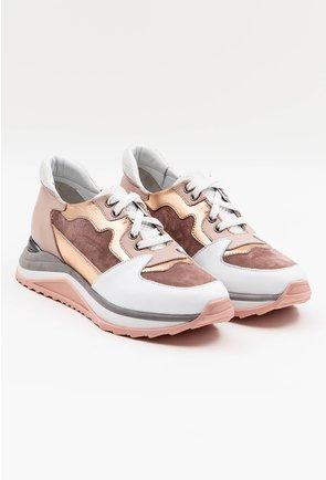Pantofi sport din piele naturala cu texturi diferite