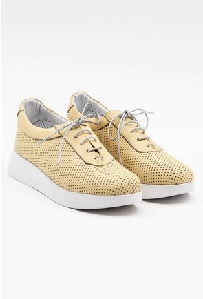 Pantofi sport din piele naturala nuanta galben pal