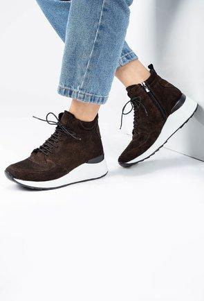Pantofi sport din piele naturala nuanta maro cu insertii sclipitoare