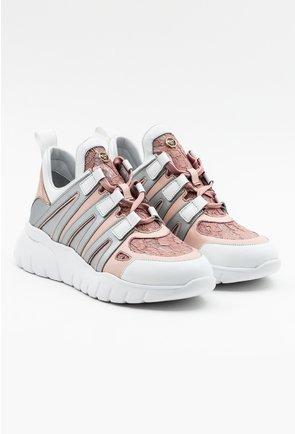 Pantofi sport din piele naturala nuanta nude roze cu detaliu dantela