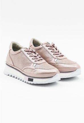 Pantofi sport din piele naturala nuanta roze sidefat