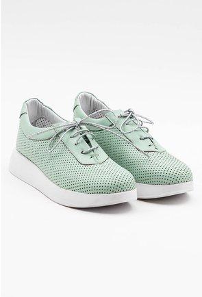 Pantofi sport din piele naturala nuanta verde menta