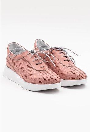 Pantofi sport din piele naturala roz deschis
