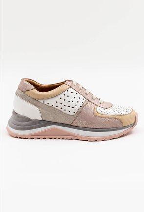 Pantofi sport din piele naturala roz pal cu insertii sclipitoare
