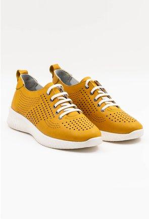 Pantofi sport galbeni din piele naturala perforata