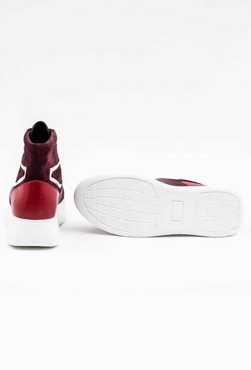 Pantofi sport grena din piele naturala cu fermoar in partea din fata