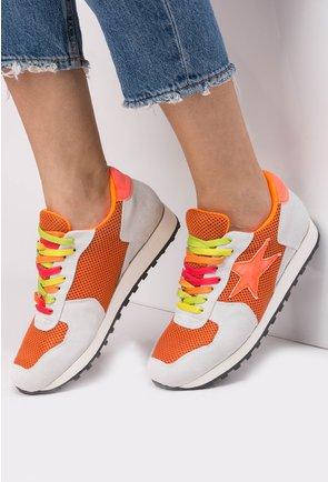 Pantofi sport gri cu portocaliu Orange