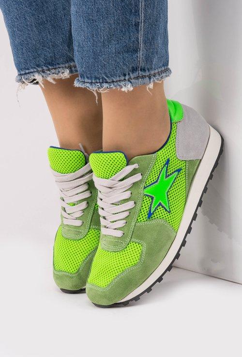 Pantofi sport gri cu verde Green