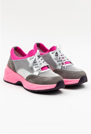 Pantofi sport gri din piele si material textil cu detalii roz neon