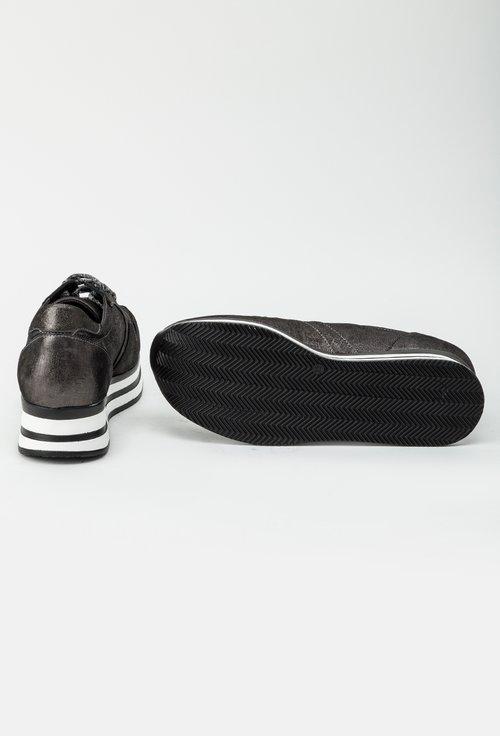 Pantofi sport gri metalizat din piele naturala Firstlane