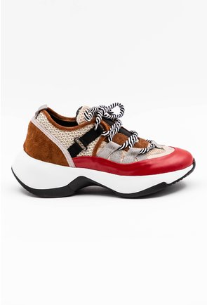 Pantofi sport in nuante de rosu si maro