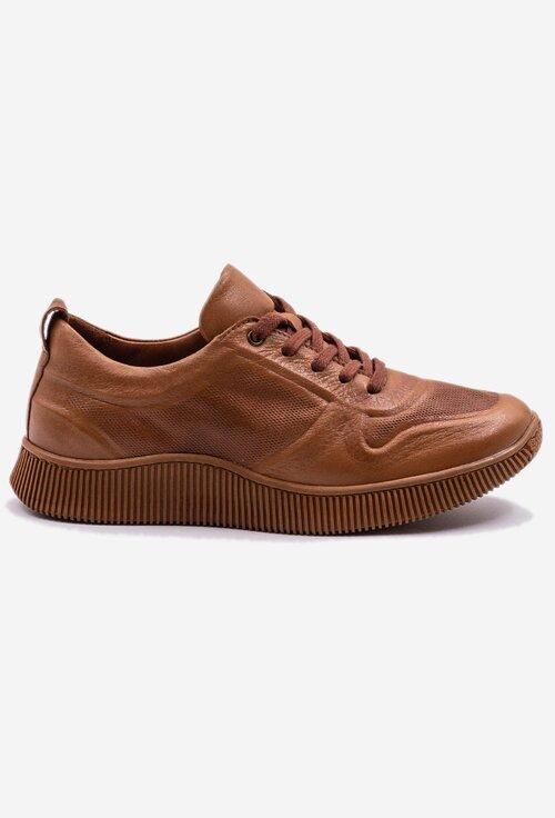 Pantofi sport maro din piele naturala box