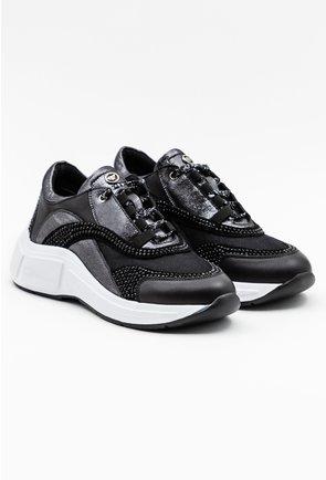Pantofi sport negri cu detalii pietricele si portiuni gri sidefat
