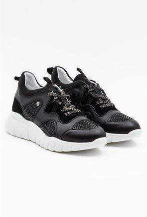 Pantofi sport negri din piele cu detalii din material textil si imprimeu sarpe