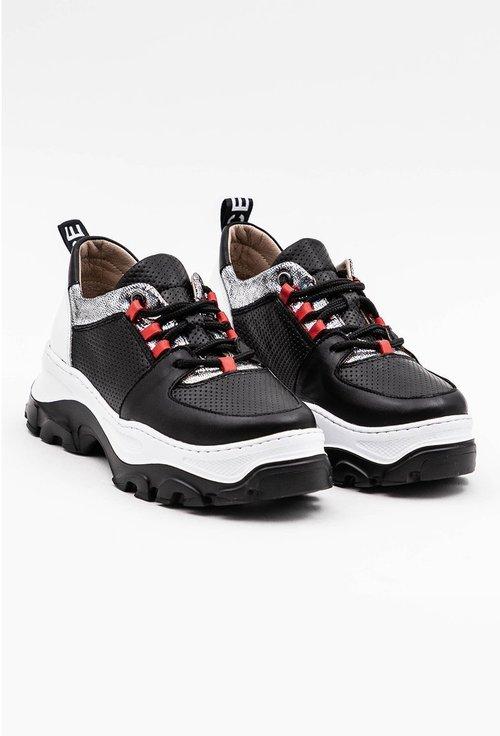 Pantofi sport negri din piele naturala