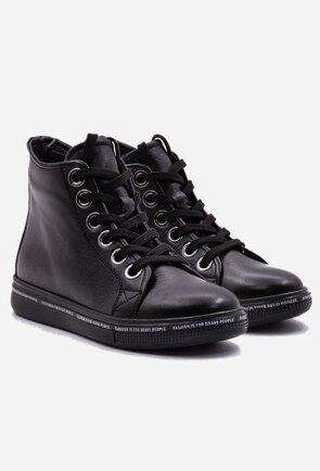 Pantofi sport negri din piele naturala box cu detaliu scris