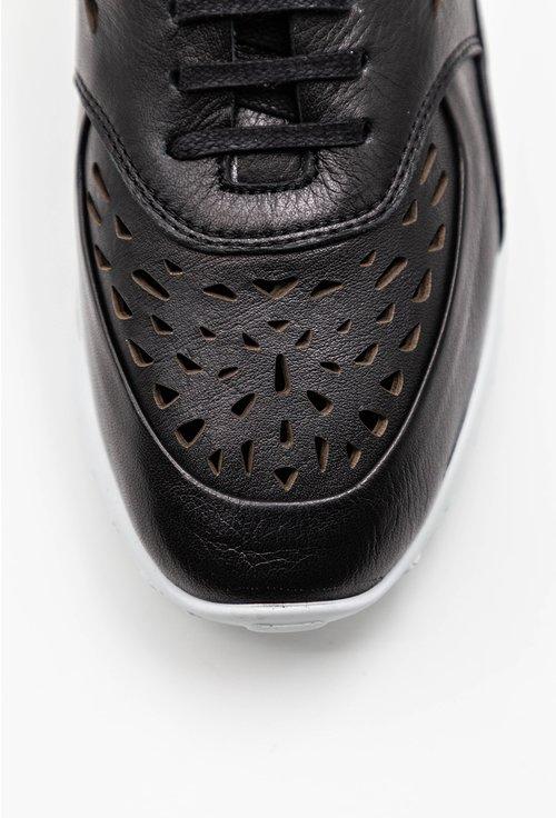 Pantofi sport negri din piele naturala cu design perforat