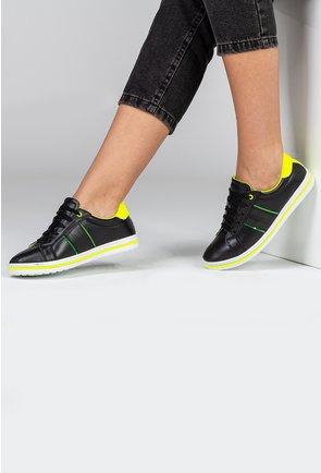 Pantofi sport negri din piele naturala cu detalii verde neon