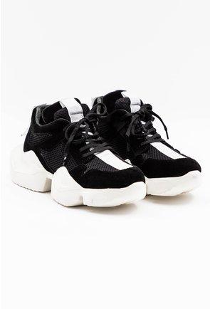 Pantofi sport negri din piele naturala intoarsa
