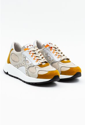 Pantofi sport nuanra taupe cu detalii mustar si portocaliu neon
