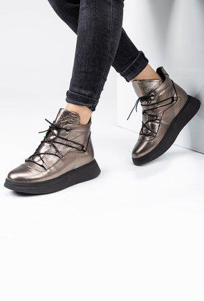 Pantofi sport nuanta auriu inchis din piele naturala