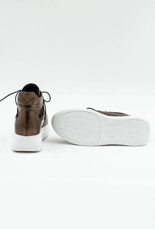 Pantofi sport nuanta bronz din piele naturala