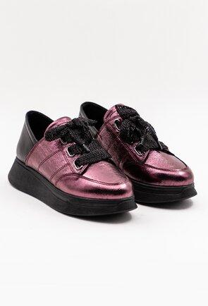 Pantofi sport nuanta mov metalizat din piele naturala box