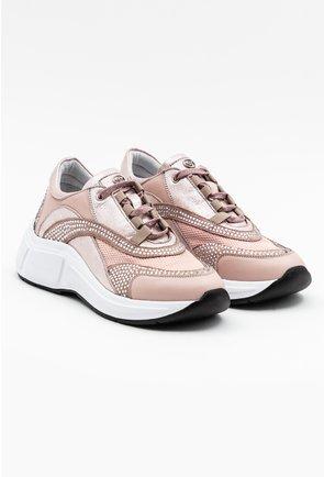 Pantofi sport nuanta roz pal cu aplicatii pietricele