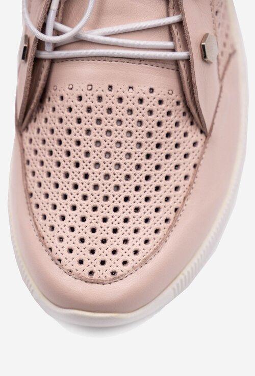 Pantofi sport nuanta roz pal din piele naturala perforata
