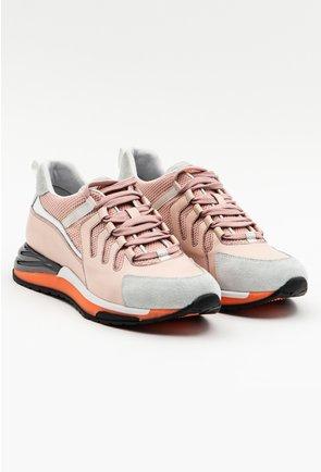 Pantofi sport nuanta roze cu talpa portocalie si detaliu gri metalziat