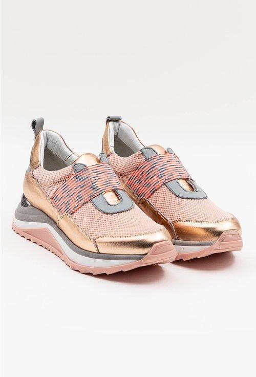 Pantofi sport roz din piele naturala si material textil