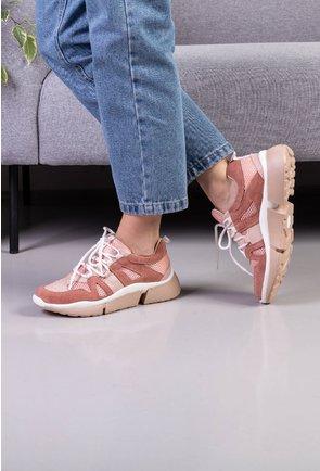 Pantofi sport roz pal din piele naturala box si piele intoarsa