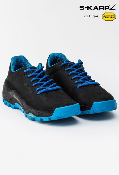 Pantofi sport S-Karp negri cu albastru din piele naturala Anaida
