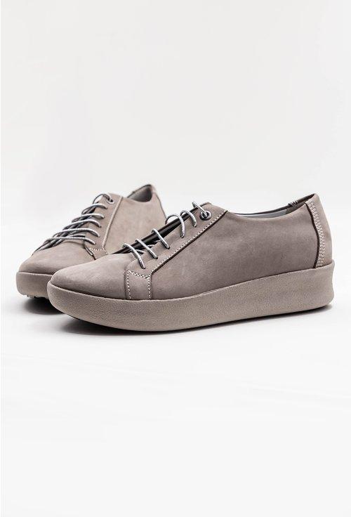 Pantofi sport taupe din piele naturala intoarsa
