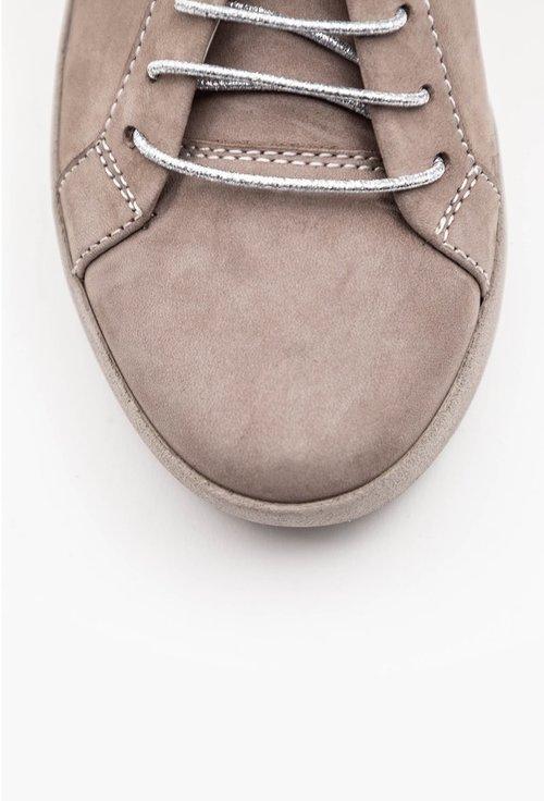 Pantofi taupe din piele naturala intoarsa