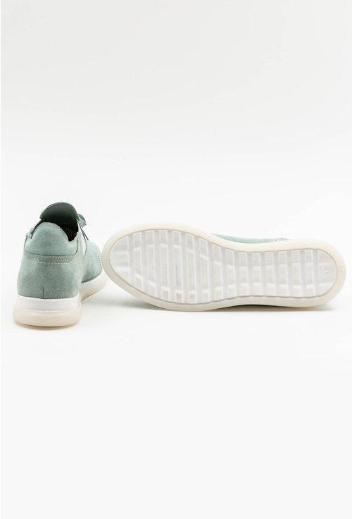 Pantofi turcoaz pastelat din piele intoarsa cu talpic buretat