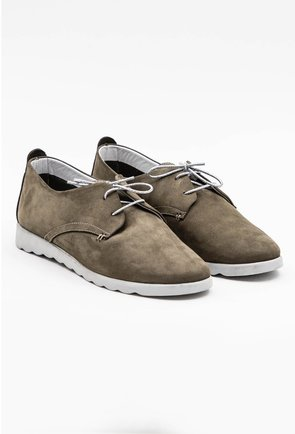 Pantofi verzi din piele naturala intoarsa