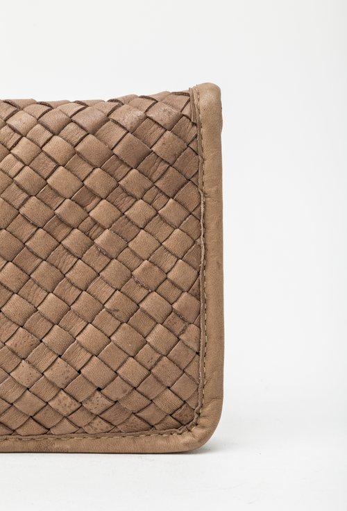 Portofel bej din piele naturala design impletit 145039