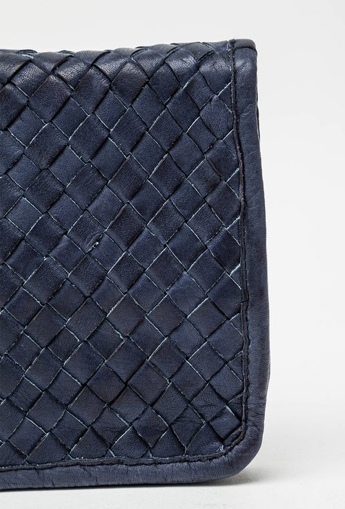 Portofel bleumarin din piele naturala design impletit 145036