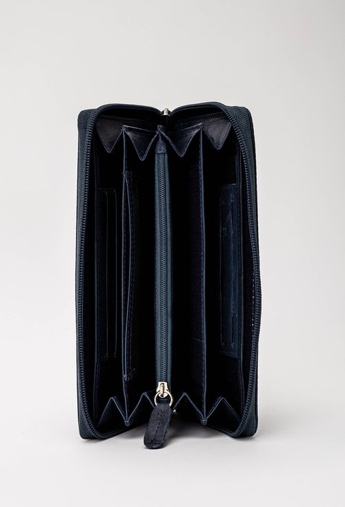 Portofel bleumarin din piele texturata cu inchidere cu fermoar