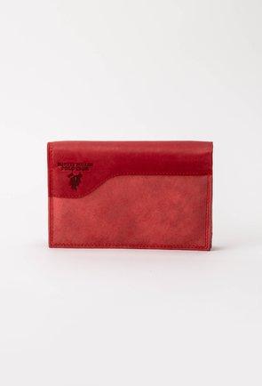 Portofel compartimentat din piele nuanta rosu zmeura